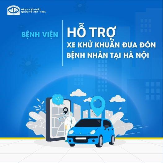 Bệnh viện Mắt Quốc tế Việt – Nga hỗ trợ xe khử khuẩn đưa đón bệnh nhân miễn phí tại Hà Nội